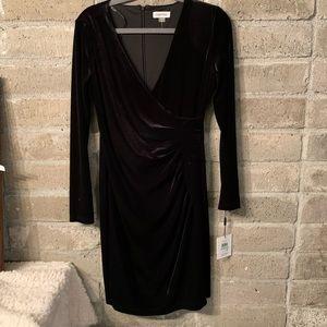 Calvin Klein Black faux velvet wrap dress